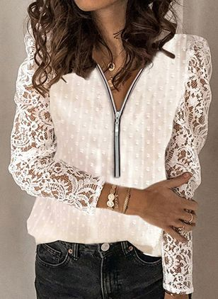Solid Casual V-Neckline Long Sleeve Blouses (146820404)