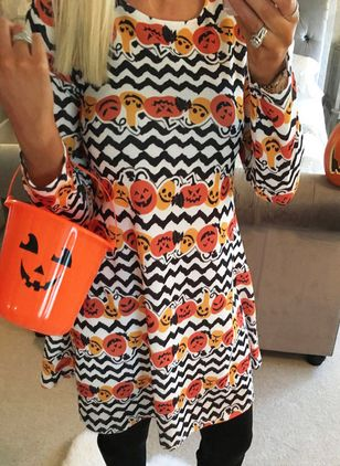 Halloween Color Block Round Neckline Above Knee X-line Dress (109556596)