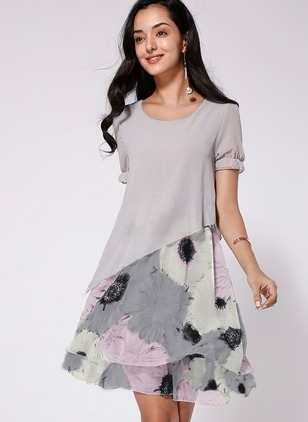 Floral Short Sleeve Midi A-line Dress