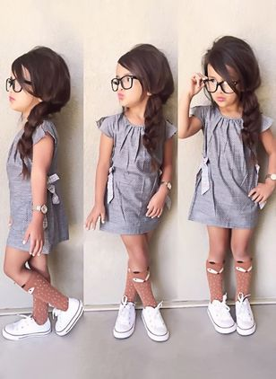 Girls' Cute Solid School Cap Sleeve Dresses
