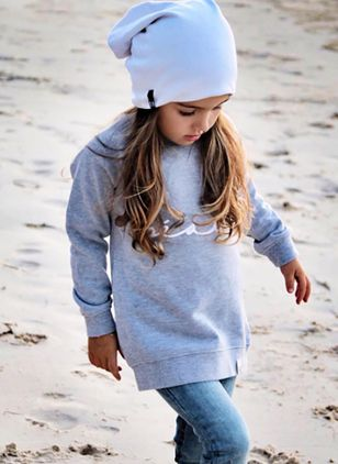 Girls' Alphabet Round Neckline Long Sleeve Tops