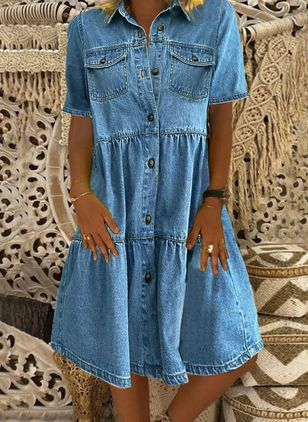 Shift Dress Collar Denim Dress (4457098)
