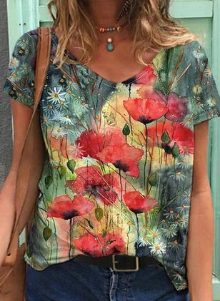 Floral V-Neckline Short Sleeve Casual T-shirts (147066056)