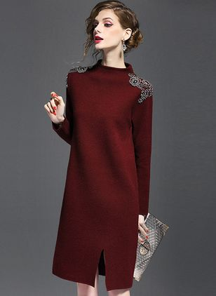 Color Block Sweater Long Sleeve Knee-Length Shift Dress