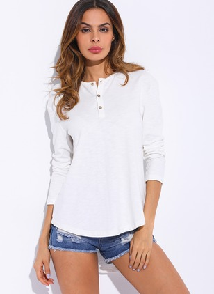 Cotton Polyester Solid Long Sleeve Casual T-shirts