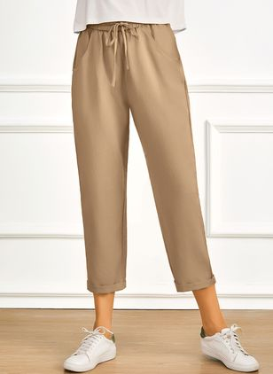 Casual Straight Pockets Mid Waist Polyester Pants (4037799)