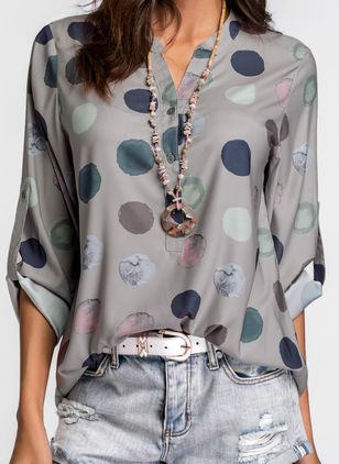 Polka Dot Casual Stand Collar Long Sleeve Blouses (1256839)