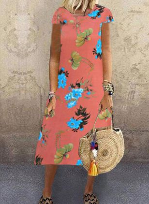 Casual Floral Tunic Round Neckline Shift Dress (100546562)