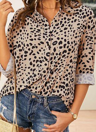 Leopard Casual Collar Long Sleeve Blouses (1451187)
