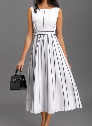 Stripe Skater Sleeveless Midi A-line Dress