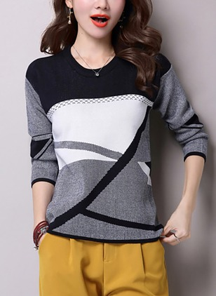 Polyester Round Neckline Color Block Loose None Sweaters