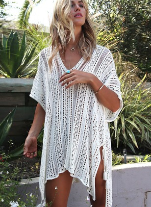 Solid Short Sleeve Above Knee Dress