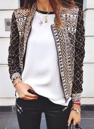 Polyester Long Sleeve Round Neck Beading Jackets