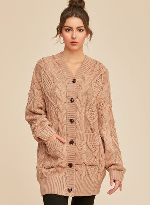 Hooded Solid Casual Loose Long Buttons Sweaters (1260297)