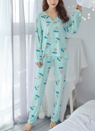 Polyester V-Neckline Character Pajamas