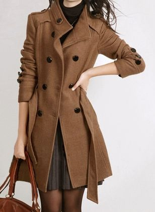 Long Sleeve High Neckline Sashes Buttons Pockets Coats (107519744)