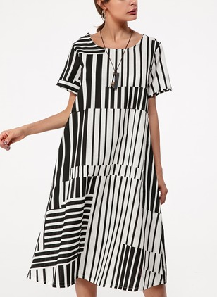 Cotton Color Block Short Sleeve Midi Shift Dress