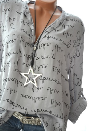 Alphabet Casual Polyester Collar Long Sleeve Blouses