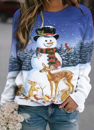 Animal Christmas Round Neckline Long Sleeve Blouses (146747158)