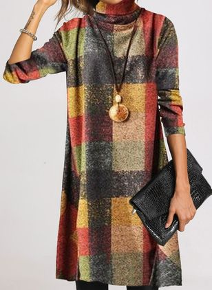 Casual Color Block Tunic High Neckline Shift Dress (1356665)
