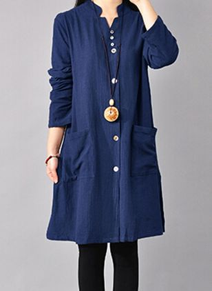 Solid Pockets Long Sleeve Knee-Length Shift Dress