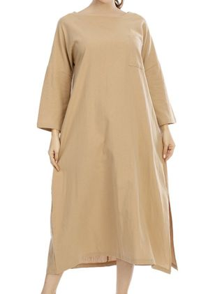 Basic Solid Tunic Round Neckline Shift Dress (109555989)