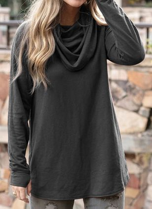 Solid Casual Draped Neckline Long Sleeve Blouses (146719542)