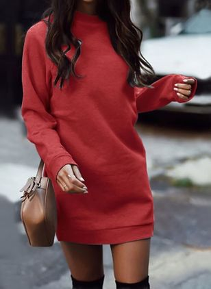 Solid Sweatershirt Long Sleeve Above Knee Shift Dress