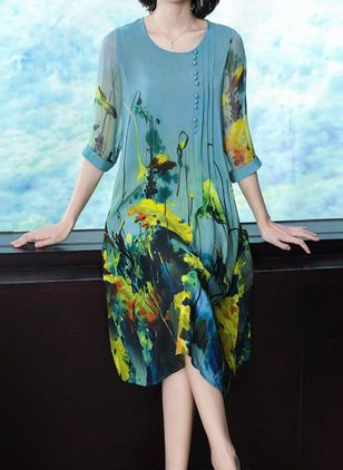 Casual Floral Tunic Round Neckline Shift Dress (1506046)