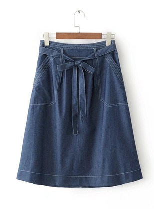 Polyester Solid Knee-Length Casual Pockets Sashes Skirts