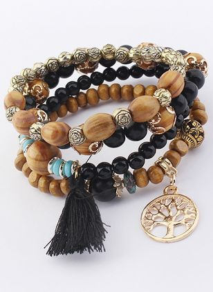 Boho Tassel Ball Gemstone Beaded Bracelets (1540415)