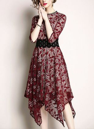 Floral Lace 3/4 Sleeves High Low A-line Dress