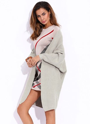 Cotton & Cotton Blend Long Sleeve Collarless Pockets Others Coats