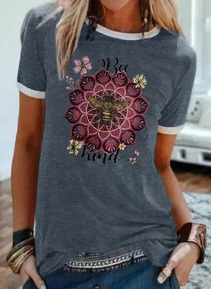 Floral Round Neck Short Sleeve Casual T-shirts (4046939)