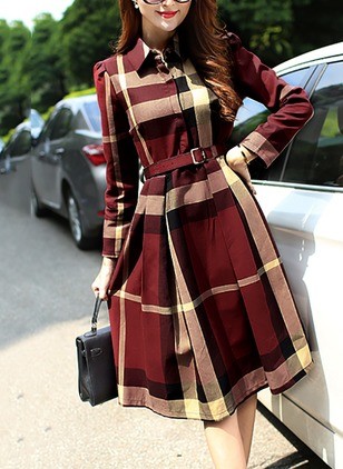 Polyester Tartan Long Sleeve Knee-Length Casual Dresses  ...