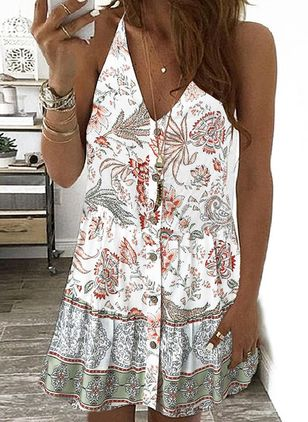 Casual Floral Tunic Camisole Neckline A-line Dress (100037762)