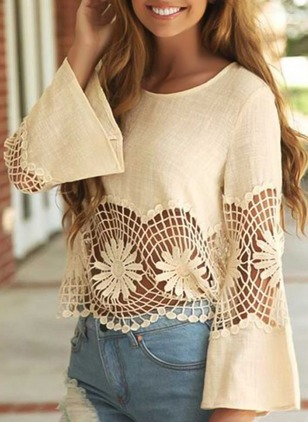 Solid Cotton Round Neckline Long Sleeve Blouses