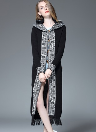 Cotton Hooded Solid Loose Long Tassel Sweaters
