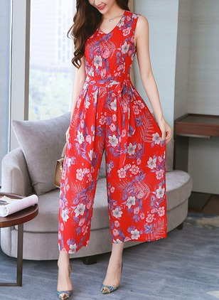 Chiffon Floral Sleeveless Jumpsuits & Rompers