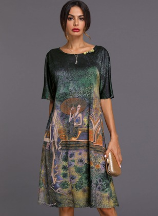 Chinese Style Geometric Tunic Round Neckline A-line Dress (1200270)