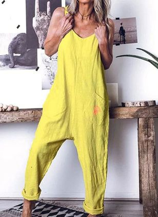 Casual Loose Pockets Mid Waist Polyester Jumpsuits (147018709)
