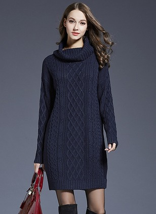 Acrylic High Neckline Solid Long None Sweaters