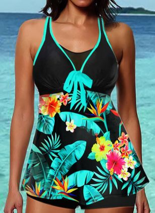 Polyester Knotted Floral Tankinis Swimwear (147471937)
