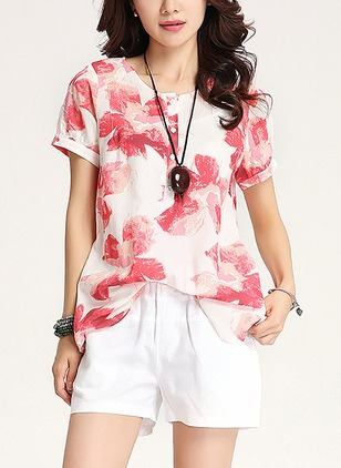 Polyester Floral V-Neckline Short Sleeve Casual T-shirts