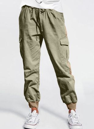 Casual Straight Pockets High Waist Polyester Pants (146961479)