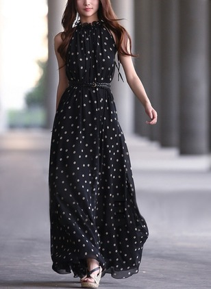 Polka Dot Wrap High Neckline Maxi Shift Dress