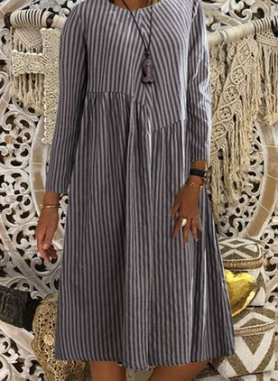 Casual Stripe Tunic Round Neckline Shift Dress (106822449)