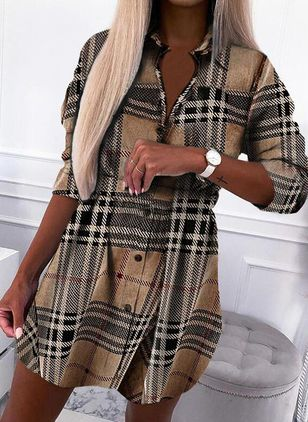Casual Plaid Shirt Collar X-line Dress (146854263)