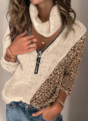 V-Neckline Leopard Casual Loose Regular Zipper Sweaters (146771270)