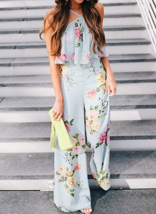 Cotton Blends Floral Sleeveless Jumpsuits & Rompers